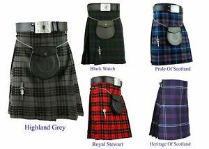 Men's Kilt Traditional Highland Skirt Scottish Dress 5 & 8 Yard Tartan Kilt 16oz
