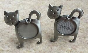 Small Miniature Cat Shaped Metal Picture Photo Frames 2 Silver Coloured