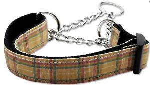 "New Mirage Chain Nylon Martingale Dog Collar 1"" x 18-26"" Khaki Plaid Large"