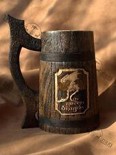 The Green Dragon beer stein Wooden Beer Mug 0.7l (23oz) Wooden Tankard men gift