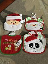 BRAND NEW Set Of 4 Baby Bibs Includes Baby's 1st Christmas & Santa Hats w/ Bib