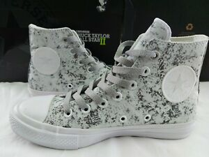Excellent Converse Chuck Taylor II CTAS All Star 154889C Womens 6.5 Silver White