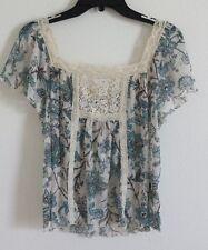 Denim & Supply Ralph Lauren Women Floral Lace Trim Top Pullover XL