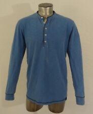 Quiksilver men's long sleeve henley shirt blue L