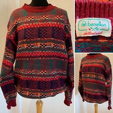 """Vintage Benetton Quirky Jumper Shetland Wool Made In Italy"""" Chest Large"""