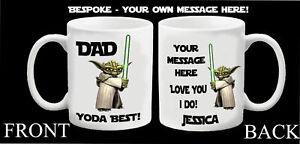 Personalised Star Wars Yoda Best Mug Step Dad Daddy Grandad Fathers Day Mug