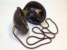 """VINTAGE COCONUT Shell Zippered Fabric Lined Purse 25"""" Long Strap Inside Zipper"""