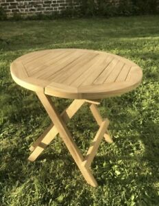 Round Folding Garden / Picnic Table Solid Wood. 50x50x50cm
