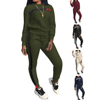 Damen Trainingsanzug Langarm Top + Lange Hose Streifen Sportswear Set Outfit P/D