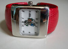 CHRISTMAS SNOW MAN SILVER  FINISH WITH LEATHER BAND BANGLE CUFF FASHION WATCH