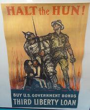1918 WWI Halt the Hun Raleigh Liberty Loan War Bond Original Lithograph Poster