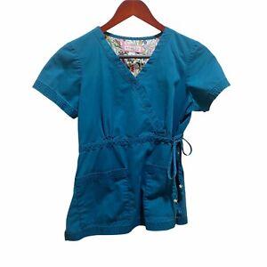 KOI Kathy Peterson Size S Womens Style 137 Medical Scrub Top Blue / Teal