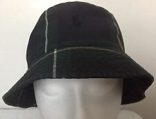 Polo Ralph Lauren Bucket Hat~Tartan~Blue/Green/Yellow~Oil Cloth~Size L/XL~NWT
