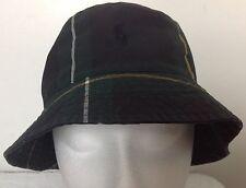 Polo Ralph Lauren Bucket Hat~Tartan~Blue/Green/Yellow~Oil Cloth~Size S/M~NWT