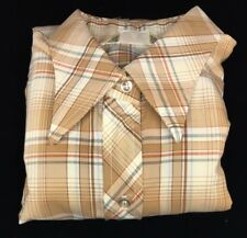 1950 Plaid brown blue rust color long sleeve button shirt by Koret Of California