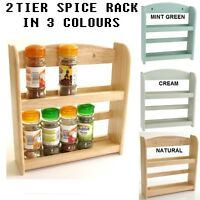 NEW 2 TIER WALL MOUNTED WOOD WOODEN HERB STORAGE JAR HOLDER SPICE RACK STAND