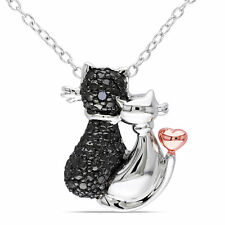 Sterling Silver Black Diamond Cat Necklace