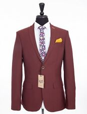 Men's Antique Rogue Skinny Fit Suit Wine 46R W40 L31 RRP£129.99