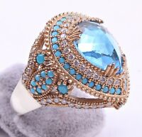 TURKISH JEWELRY 925 SILVER HANDMADE Aquamarine Stone WOMAN LADIES RING ALL SIZE