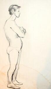 Vintage pastel painting portrait nude man