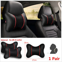 Pair Black Ice Silk Leather Car Headrest Pillow Cervical Autos Seat Neck Pillows