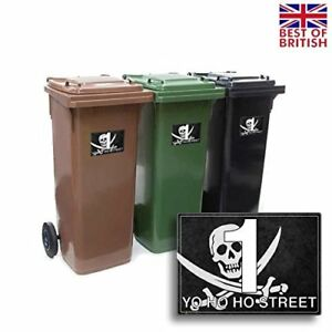 A5 [4 X Pack] - Jolly Roger Flag - Pirate, Personalised Wheelie Bin Sticker /...