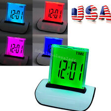 7 LED Color Changing Digital LCD Thermometer Calendar Alarm Clock Date Multi-use