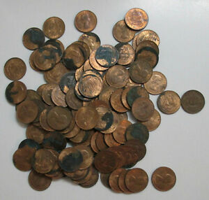 Lot of 118 Great Britain half penny coins with discoloration - almost all 1967