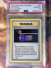 1999 Pokemon Game 80 Defender 1st Edition Shadowless PSA 10 Gem Mint Card