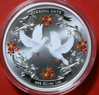 "NIUE 2 Dollars 2011 ""Ewige Liebe"" 1 oz colored #F3782 extra rare nur 10.000"