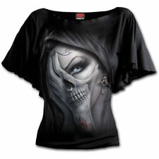 Spiraldirect Dead Hand Boat Neck Bat Sleeve Top Black|skulls|vixen|cross L