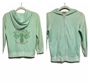Juicy Couture Women's Sz L Mint Green Full Zipped Hooded Sweatshirt