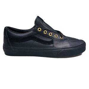 VANS SK8 Low Mens Size 10 Vault Leather Black & Gold Skateboarding Sneakers