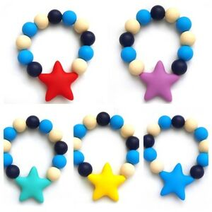 New Lily Bear Silicone Baby Teething Soother Star Beaded Bracelet Jewellery.