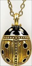 "Faberge Inspired Ladybug Egg Pendant Gold & Black Enamel 3/4""x1/2"" 18"" Chain"