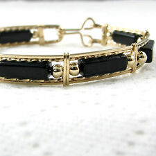 Black Onyx Gemstone Bangle Bracelet 14K Yellow Gold Filled Jewelry