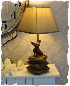 Lámpara Chihuahua escultura de perro lámpara de sobremesa tela pantalla animal