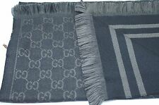 New Gucci Men's Scarf GG Wool Black Gray Women's Signature Logo