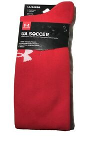 Under Armour UA Over the Calf Soccer Socks Red Large fits size Men 9-12.5