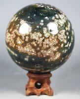 610g Raw NATURAL OCEAN JASPER QUARTZ Geode CRYSTAL sphere BALL HEALING