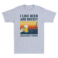 Vintage I Like Beer Hockey Maybe 3 People Funny Men's T-Shirt Retro Cotton Tee