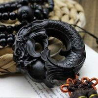Lucky Jewelry Ebony Wood Carving Chinese Fengshui Dragon Sculpture Car Pendant