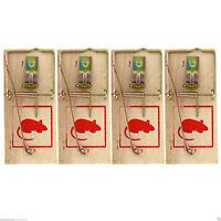 4x Reusable Wooden Mouse Traps Bait Mice Vermin Rodent Pest Control Mousetrap UK
