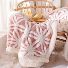 Sherpa Fleece Blanket Fuzzy Bed Blanket Jacquard Comfort Throw Blanket 51 x 63in