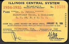 1934-35 Illinois Cent RR Pass for Supt Tool Gulf Ship island Yazoo Miss Valley