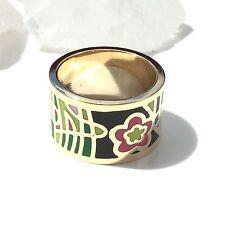❤️ Ring * Edelstahl * Gr. 57 * plattiert * Emaille * Blumen * Gold *  ❤️ RE6