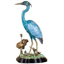 Exquisito Porcelana Azul Garza Pájaro Figurita Escultura/Estatua,