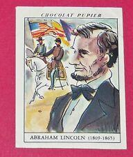 CHROMO N°64 ABRAHAM LINCOLN CHOCOLAT PUPIER AMERIQUE DU NORD 1952