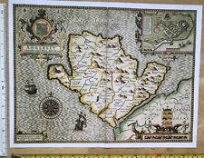 "Old Tudor map of Anglesey, Wales: John Speed 1600's 15"" x 11"" (Reprint)"