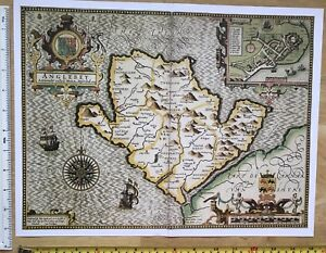 """Old Antique Tudor map of Anglesey, Wales: John Speed 1600's 15"""" x 11"""" (Reprint)"""